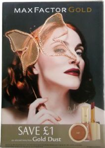 MAX FACTOR GOLD - UK LARGE 2ft PROMO DISPLAY BOARD / STAND
